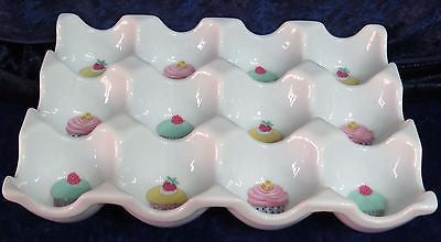 Colourful Cupcakes Ceramic 12 egg holder