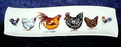 Chickens cockrels porcelain garlic bread tray tapas dish nibbles dish snack tray