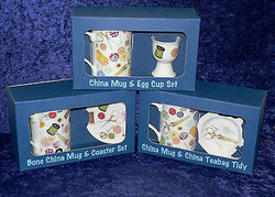 Bone china sewing mug & matching china coaster, egg cup or teabag tidy boxed