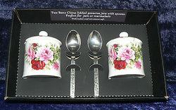 Set of 2 bone china pretty pink rose preserve jars & spoons gift boxed