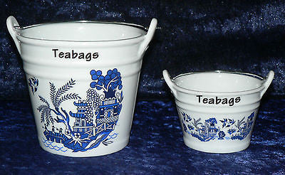Blue willow teabag tidy Bucket, used teabag holder, dec with willow pattern in choice of 2 sizes