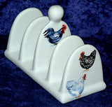 Chicken  toast rack. Ceramic  toast holder decorated with chickens cockrels
