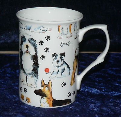 Bone china mug with cute Dogs chintz design - different dogs all around mug