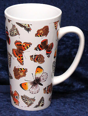 Beautiful butterflies chintz  ceramic large latte mug 3/4pt capacity