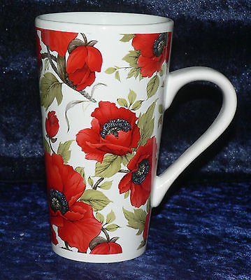 Poppy chintz Pattern ceramic large latte mug  3/4pt capacity