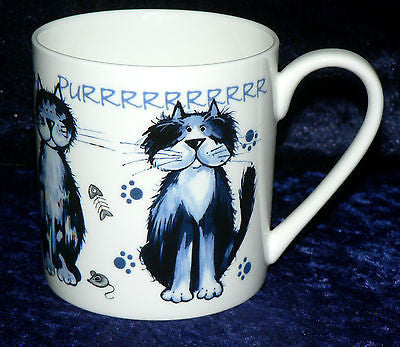 Cat 1 pint bone china mug. Blue cartoon cats different around mug