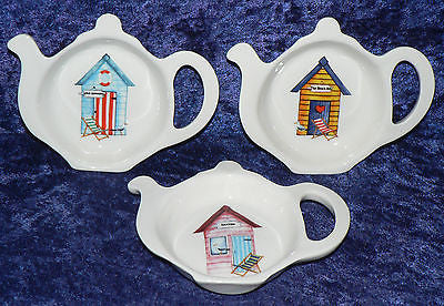 Teabag tidy, used teabag holder bone china with fun beach hut design, 3 colors to choose form