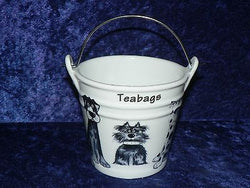 Blue Dogs Teabag tidy.Bucket, shaped used teabag pot, used teabag holder cute fun dogs all round