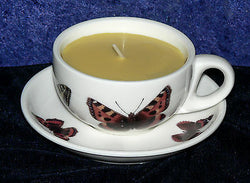 Demi (Mini) Espresso cup and saucer butterfly design filled with scented candle