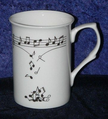 Bone china mug dec with our own unique Music Notes tumbling from scale pattern