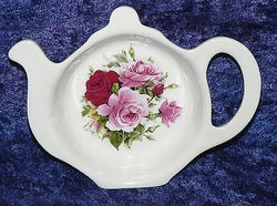 Teabag tidy, used teabag holder , bone china pink rose designs teaspoon spoon holder