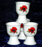 Poppy  poppies egg cups eggcup porcelain set of 4