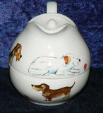 Fun Dogs stacked milk jug & sugar bowl creamer and sugar Airedale, Old English