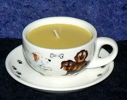 Demi (Mini) Espresso cup and saucer fun dogs design filled with scented candle