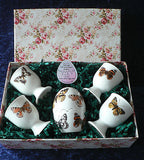Egg cup gift set butterfly design- 4 china egg cups & china egg salt and pepper