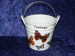 Butterly Teabag tidy bucket shaped used teabag pot, used teabag holder perfect for a good quantity