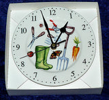 Gardening wall clock porcelain wall clock with garden tools wellies, fork shears