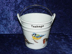 Garden Birds Teabag tidy. Bucket shaped used teabag pot used teabag holder