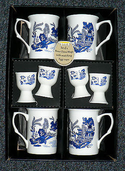 Blue willow pattern china mugs & egg cups -  set of 4 gift boxed mugs & eggcups