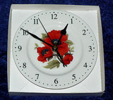 Poppy poppies wall clock porcelain wall clock