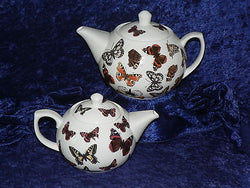 Butterfly porcelain teapot, milk or sugar Butterflies pattern chose 2 cup, 6 cup