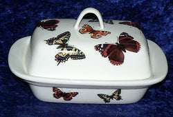 Butterfly deep butter dish. White porcleian deep dish decorated with colourful butterflies