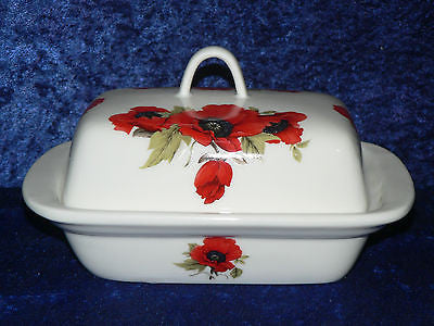 Poppy butter dish deep white porcelain decorated all round with bright poppies