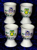Set of 4 ceramic cute owl design eggcups egg cups  2 colours
