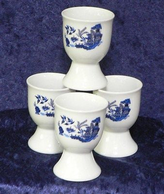 Blue willow egg cups eggcup porcelain set of 4
