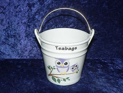 Owls Teabag tidy.Bucket shaped used teabag pot used teabag holder cute fun mauve and lavender owls