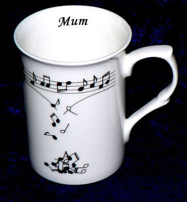 Music notes falling from scale design on Bone china mug,