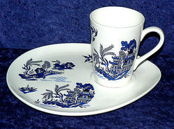 Blue Willow Pattern snack plate & mug.