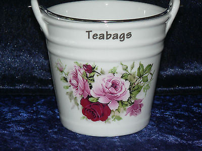 Pink rose Teabag tidy bucket shaped used teabag pot, used teabag holder perfect for a good quantity