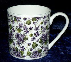 Violet 1 pint bone china mug - Violets all around mug