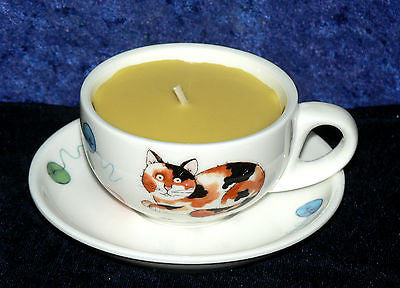 Demi (Mini) Espresso cup and saucer fun cats  design filled with scent candle