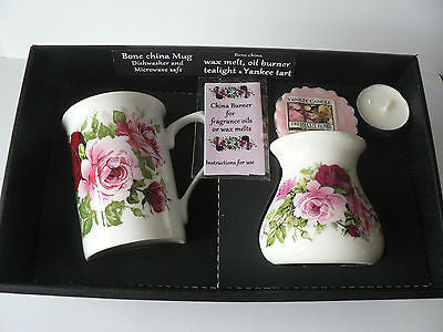 Rose Mug & oil burner gift set -Gift box mug, oil burner Yankee melt t.lite