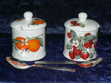 Set of 2 bone china fruits preserve jars & spoons gift boxed choice of patterns