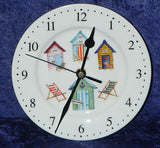 Beach Hut wall clock porcelain wall clock with beach hut & deckchair design
