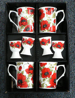 Poppy Bone china mugs & egg cups -  set of 4 gift boxed mugs & matching eggcups