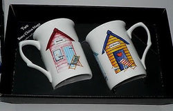 Beach Hut mug gift set - 2 x bone china beach hut mugs