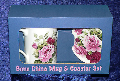 Bone china pink rose mug with matching bone china coaster,eggcup or teabag tidy