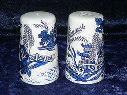 Blue willow pattern bone china cruet set. Salt & pepper -willow pattern allround