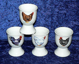 Cockerel, chicken egg cups eggcup porcelain set of 4 boxed