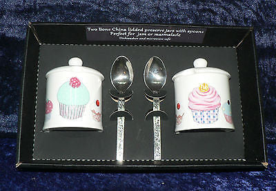 Set of 2 bone china cupcake preserve jars & spoons gift boxed