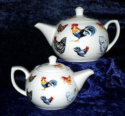 Chickens / Cockrels design on 2 cup or 6 cup porcelain teapot 3 cols to choose