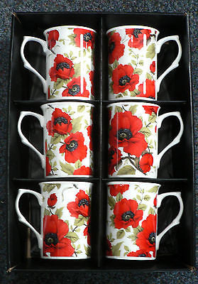Poppy Bone china mugs - set of 6 gift boxed - Box of 6 each slightly different