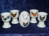 Chicken egg cup gift set. 4 egg cups & china egg salt and pepper gift tray