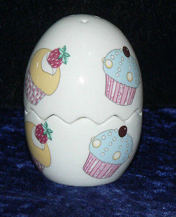 Cupcake cruet set. Bone china egg shaped salt and pepper set 2 piece set