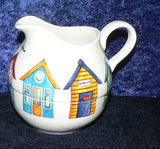 Beach Huts stacked stacking milk jug & sugar bowl creamer and sugar
