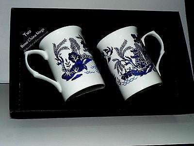 Blue willow mug gift set 2x bone china blue willow pattern mugs - black gift box